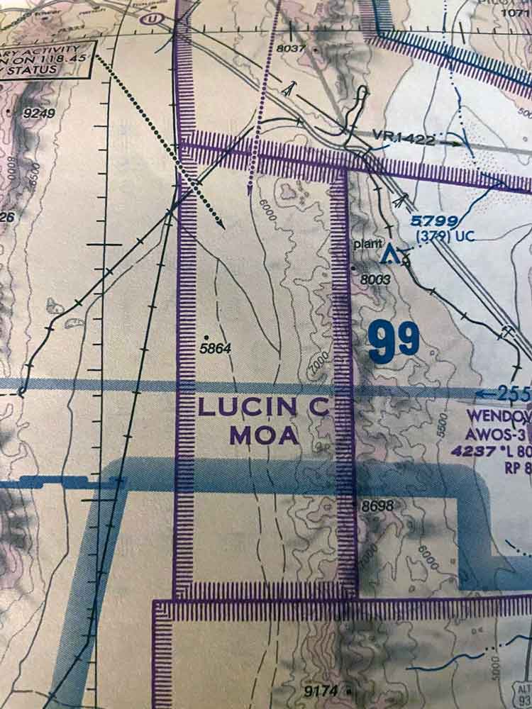 Airspace chart military operation area