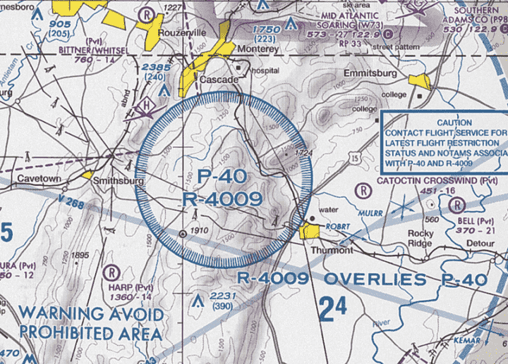 Airspace chart prohibited areas