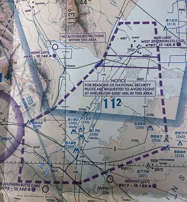 Airspace chart restricted areas