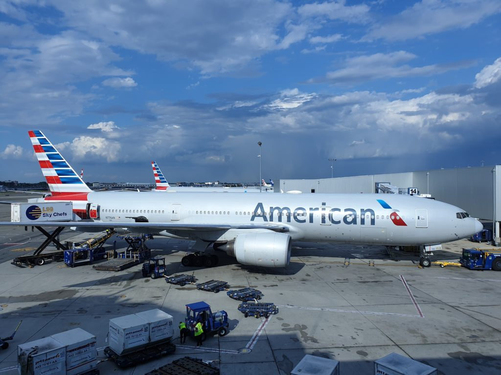 American Airlines airplane at the gate