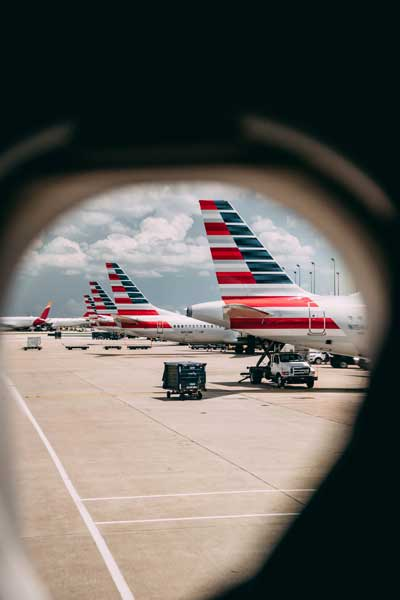 American Airlines jet tails on the ground