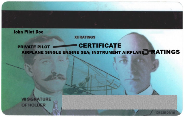 Example of a pilot license
